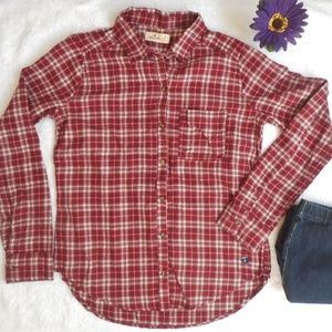 HOLLISTER Button Down SHIRT Plaid Red Nwt